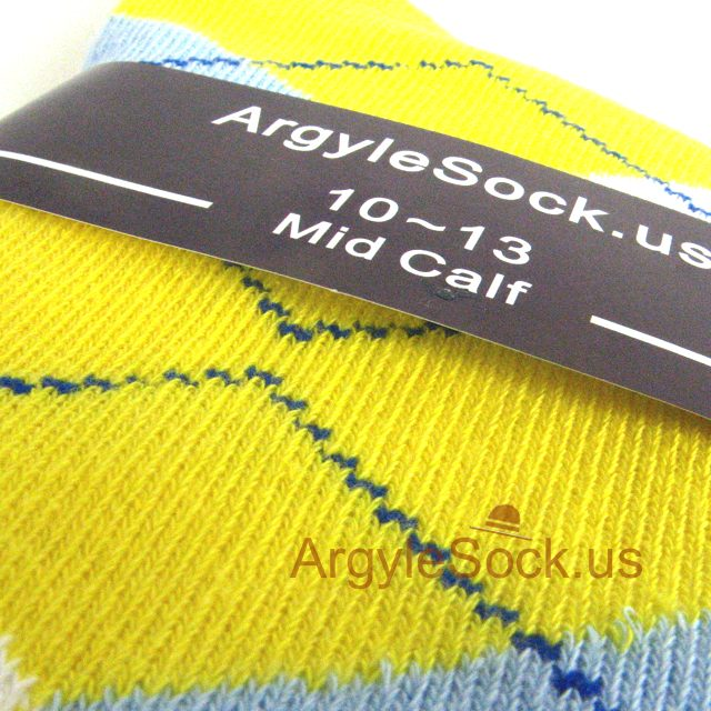 MA039 yellow light blue mens socks