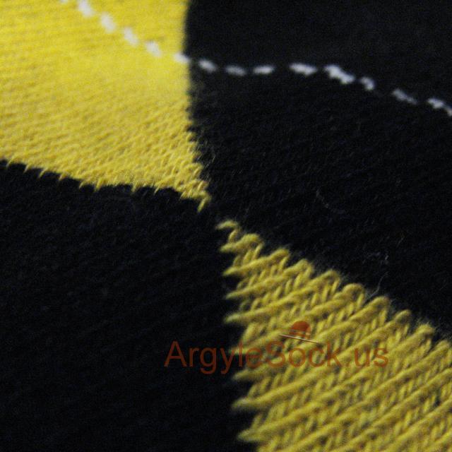 black yellow mens argyle sock