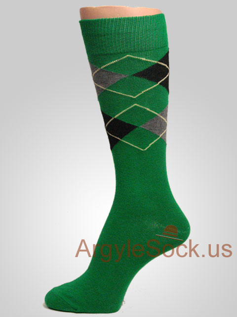 Green, Gray/Grey Black argyle socks with yellow