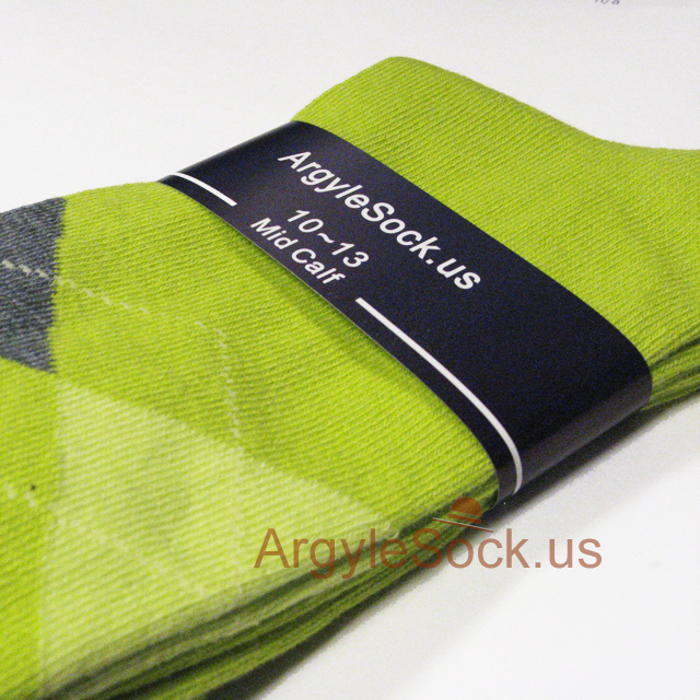 men's lime green argyle socks