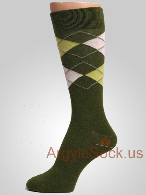 men's moss green/olive green/army green and lime green and white gray/grey argyle socks