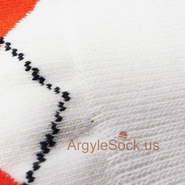 orange white men argyle sock