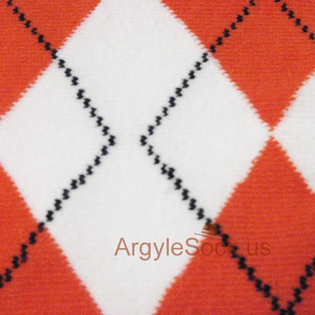 orange white men argyle socks