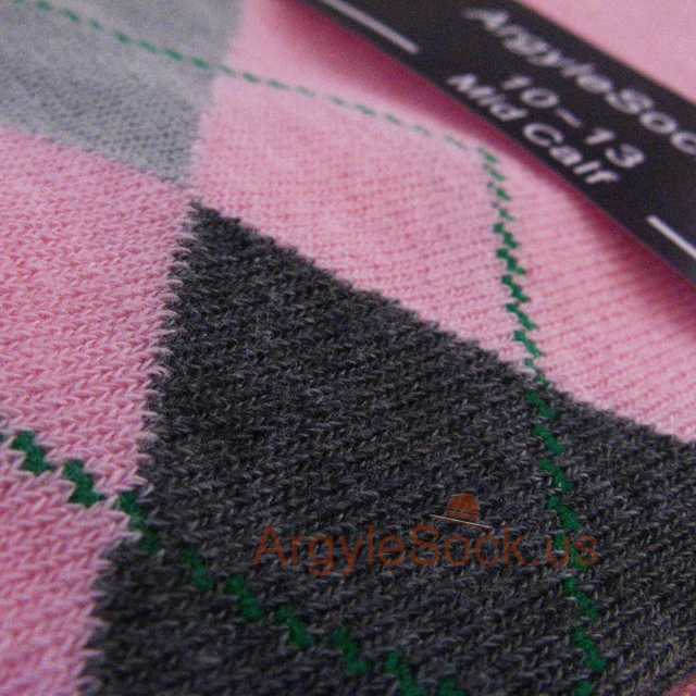 pink grey/gray argyle sock for men