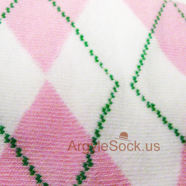 Pink white men argyle sock