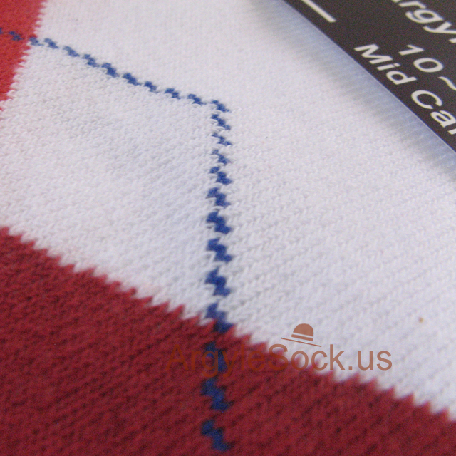 red white blue men's argyle sock from Karin's socks manufacturer