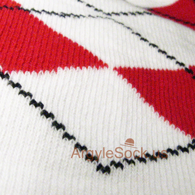 Red white men argyle sock