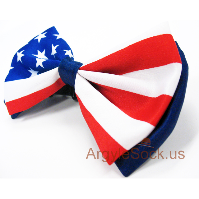 blue white red bow tie