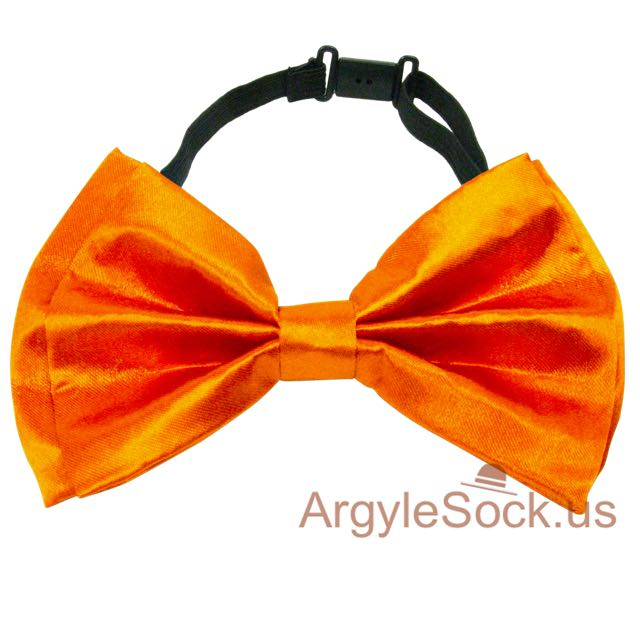chap neon orange wedding bow tie