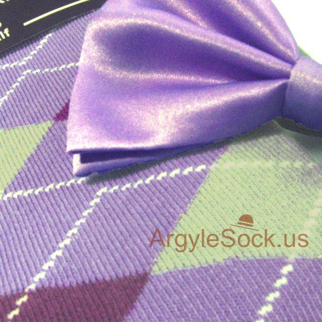 lavender socks and violet bow tie