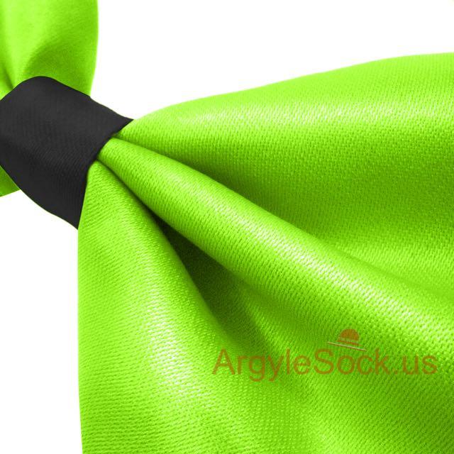 neon green black bowtie with self-tie elastic strap