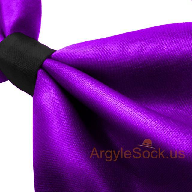 shiny neon purple black bowtie with self-tie elastic strap