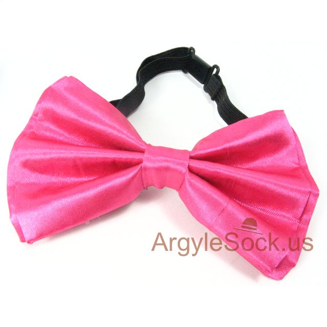 neon pink bow tie with easy put on with clip