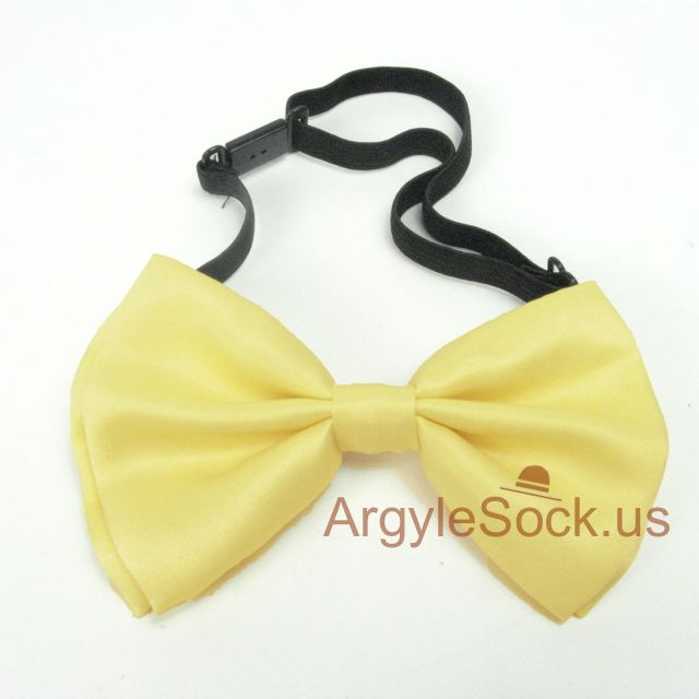 yellow wedding bow tie with self wear clip