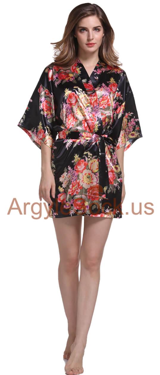 black kimono robe