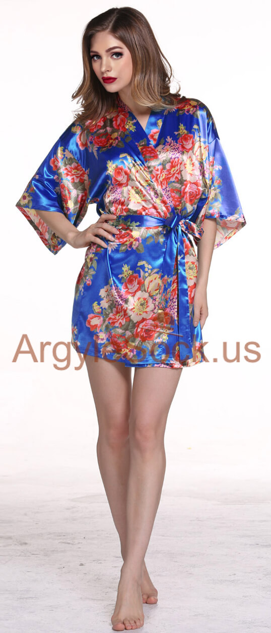 blue kimono robe