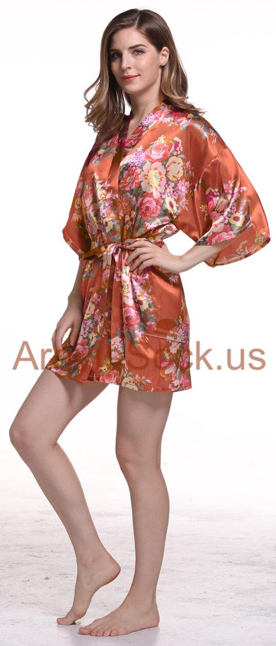 coral kimono robe