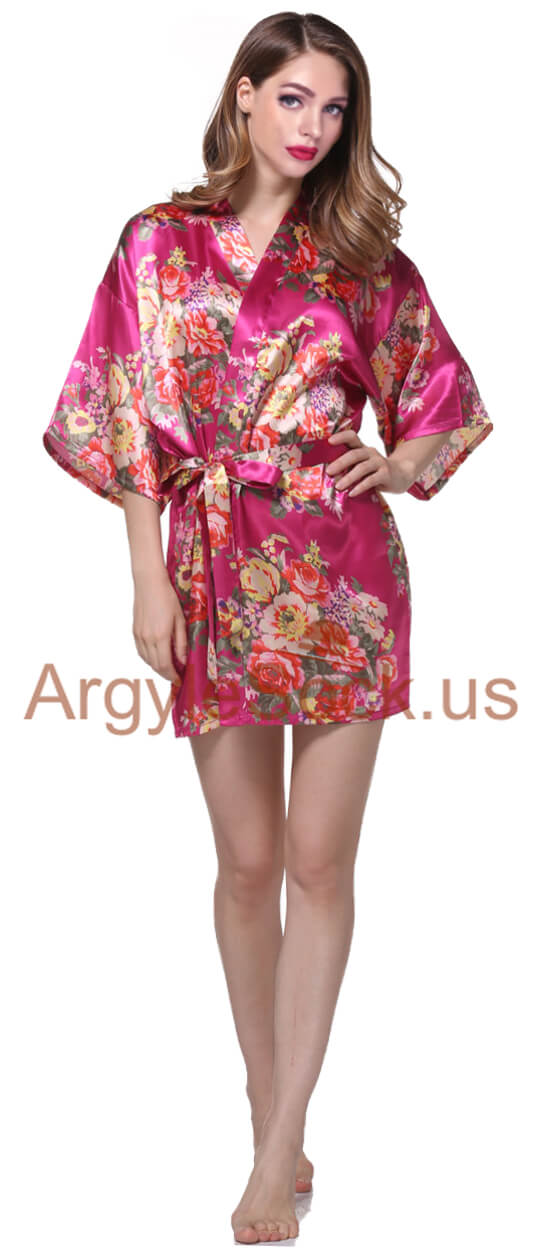 Bridesmaid Floral Kimono Robe With Free Matching Pouch