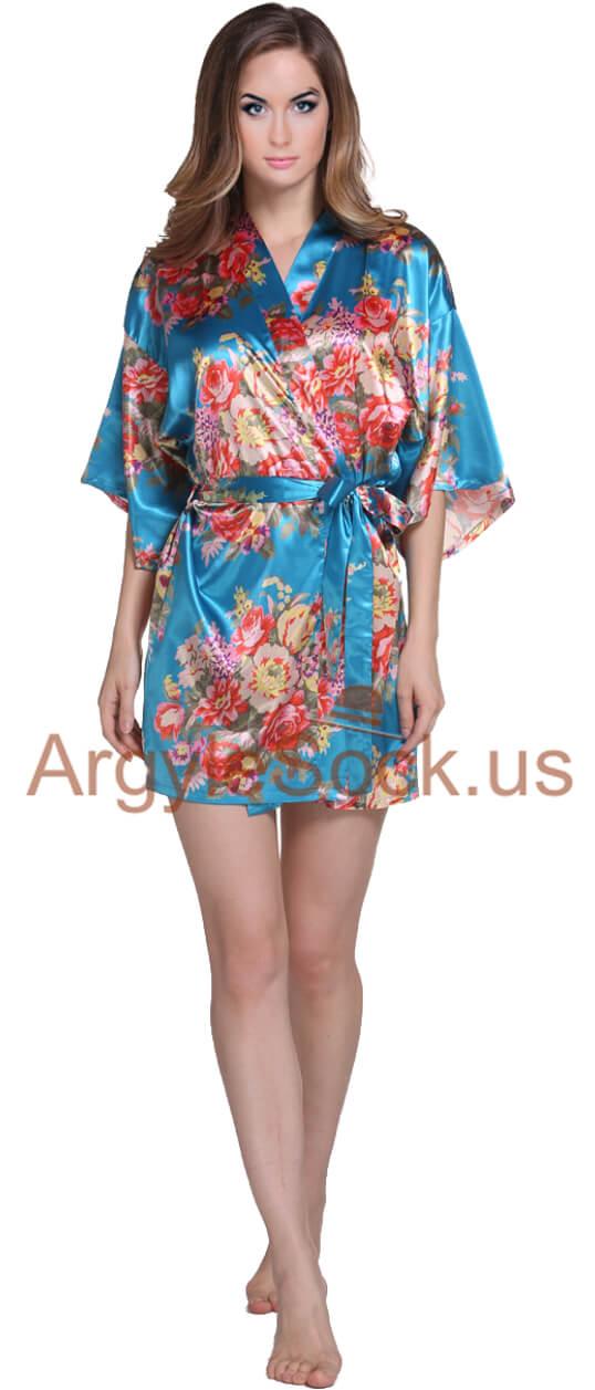 turquoise kimono robe