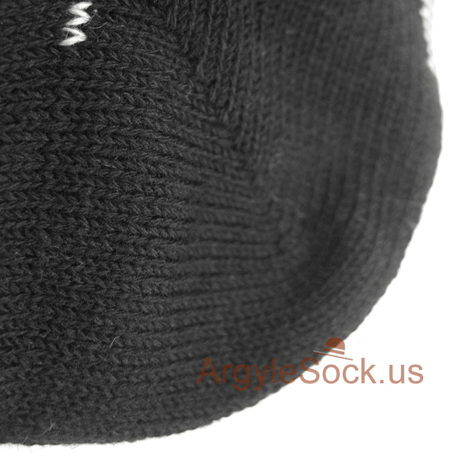 black cream check mens sock
