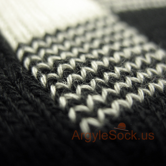 black cream checkered mens sock