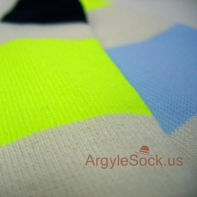 light blue neon yellow mens stripe socks