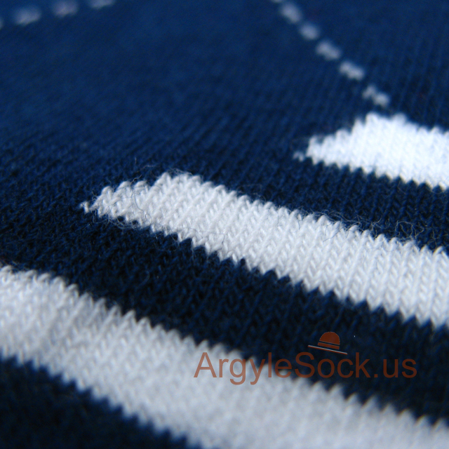 navy blue white red argyle men sock