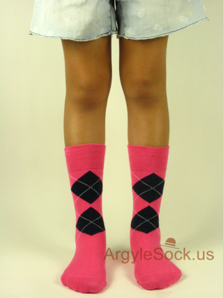 bright pink junior groomsmens argyle sock