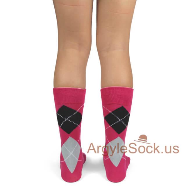 youth wedding socks hot pink black
