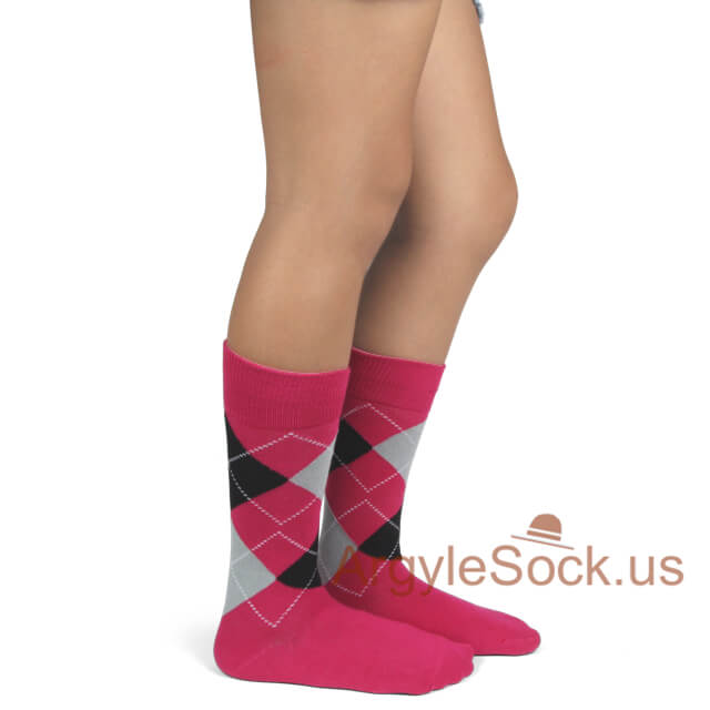 junior groomsmen's socks hot pink black