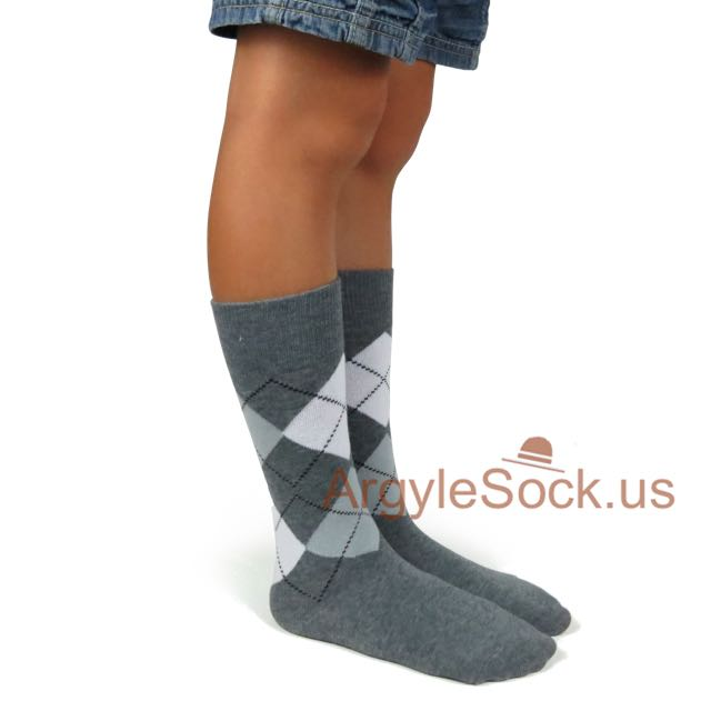 junior groomsmen gray argyle socks side