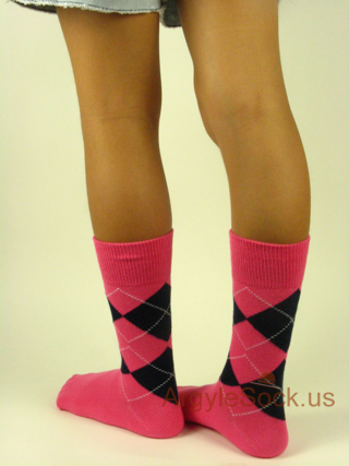 pink junior size wedding argyle socks