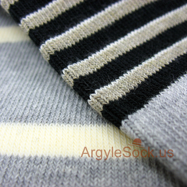 gray/grey black khaki striped mens sock