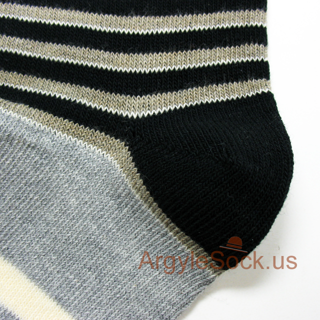 gray/grey black khaki stripes mens sock