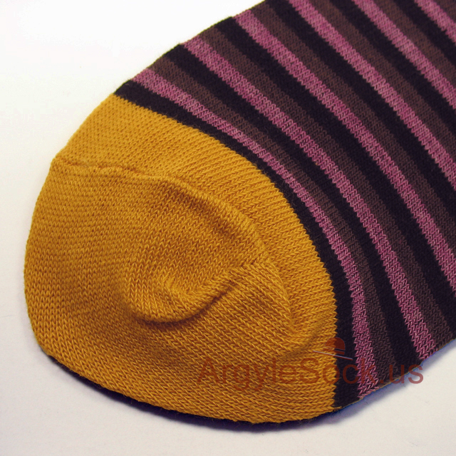 magenta purple brown striped men sock
