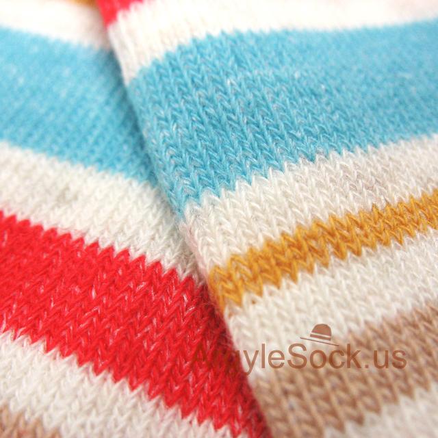 off-white light blue red stripes mens sock