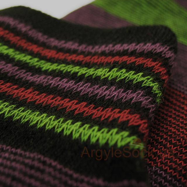 purple lime green maroon stripe men sock