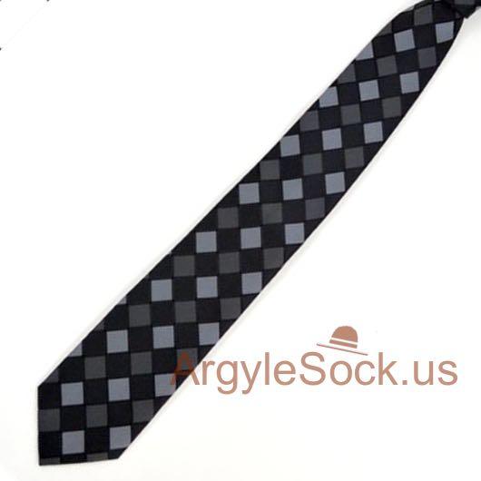 black grey charcoal dark grey checkered groomsmen mens wedding ties