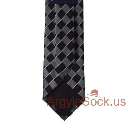Black gray silver check groomsmen tie