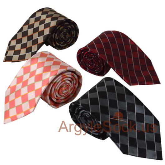brown beige gingham checkered groomsmen ties