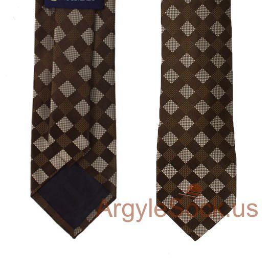 brown silver gray gingham check groomsmen mens tie