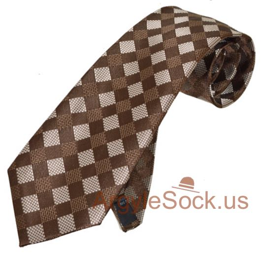 brown silver gray gingham check groomsmen mens tie for wedding