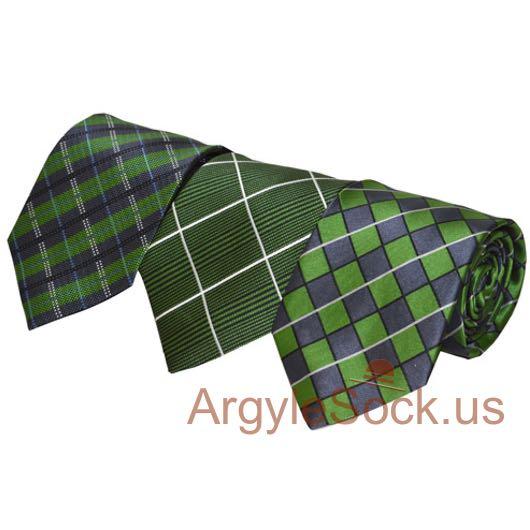 green indigo blue checkered groom groomsmen ties