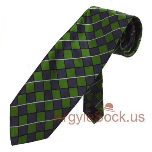 green indigo blue checkered groomsmen ties for wedding