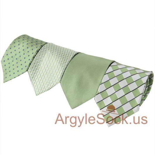 mint green pistachio white check groomsmen ties