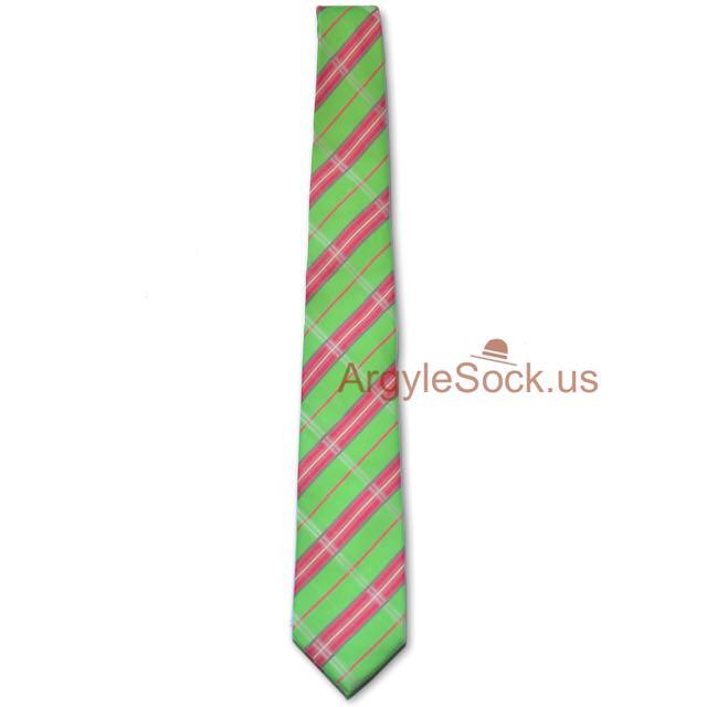 mint green apple green pink necktie for groomsmen