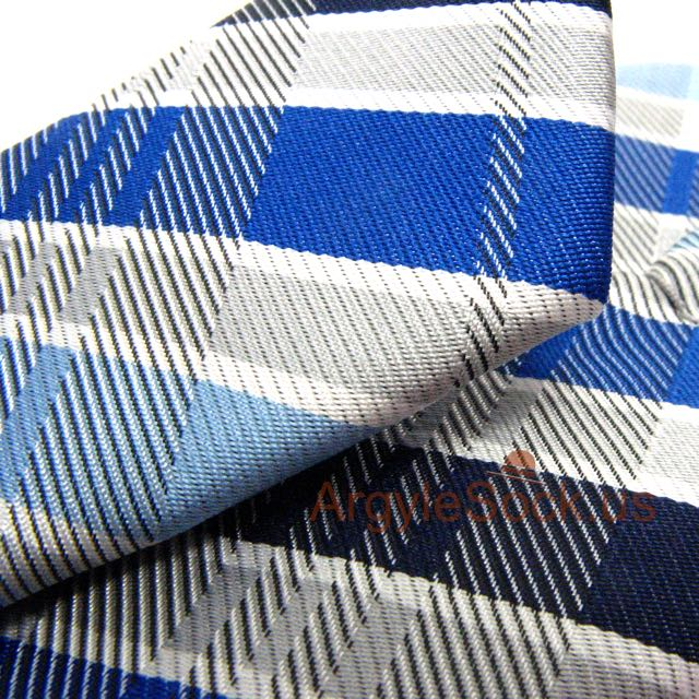 navy royal blue silver grey plaid necktie