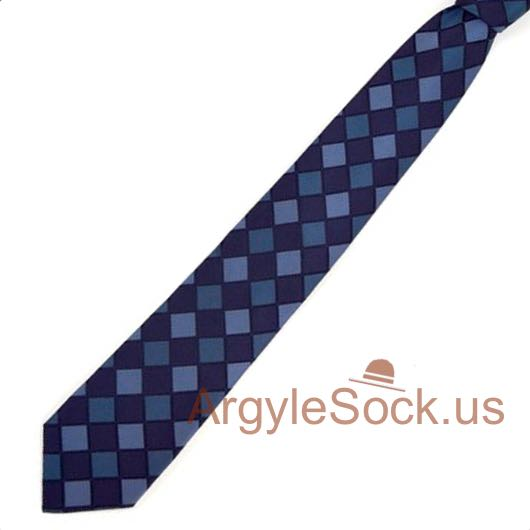 navy indigo blue checkered groomsmen ties