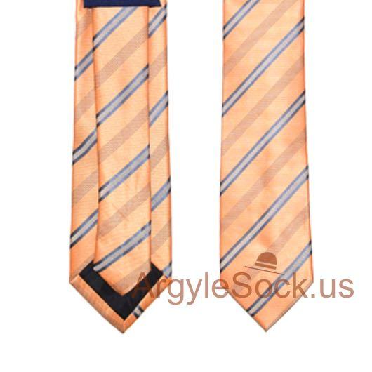 peach blue striped groomsmen/men's neck tie