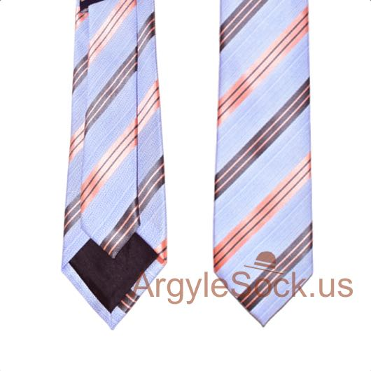 periwinkle-ish light blue pink black striped ties for men and groomsmen